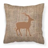Deer Burlap and Brown   Canvas Fabric Decorative Pillow BB1121