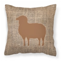 Sheep Burlap and Brown   Canvas Fabric Decorative Pillow BB1126