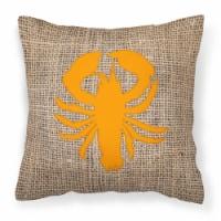 Lobster Burlap and Orange   Canvas Fabric Decorative Pillow BB1015 - 14Hx14W