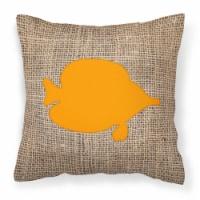 Fish - Tang Fish Burlap and Orange   Canvas Fabric Decorative Pillow BB1023 - 14Hx14W