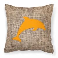 Dolphin Burlap and Orange   Canvas Fabric Decorative Pillow BB1025