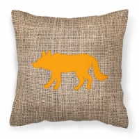 Wolf Burlap and Orange   Canvas Fabric Decorative Pillow BB1123