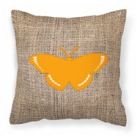 Butterfly Burlap and Orange   Canvas Fabric Decorative Pillow BB1038