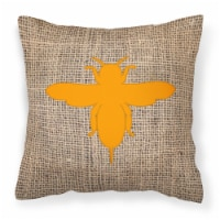 Bee Burlap and Orange   Canvas Fabric Decorative Pillow BB1057