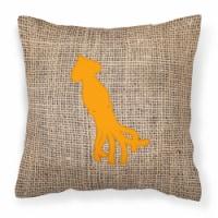 Squid Burlap and Orange   Canvas Fabric Decorative Pillow BB1096 - 18Hx18W