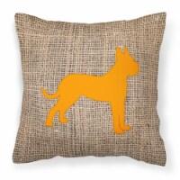 Boxer Burlap and Orange   Canvas Fabric Decorative Pillow BB1109 - 14Hx14W