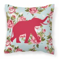 Elephant Shabby Chic Blue Roses   Canvas Fabric Decorative Pillow BB1011