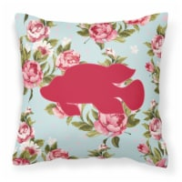 Fish - Tropical Fish Shabby Chic Blue Roses Canvas Fabric Decorative Pillow