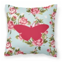 Butterfly Shabby Chic Blue Roses   Canvas Fabric Decorative Pillow BB1050