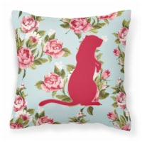 Meerkat Shabby Chic Blue Roses   Canvas Fabric Decorative Pillow BB1118