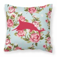 Fish - Marlin Shabby Chic Blue Roses   Canvas Fabric Decorative Pillow BB1026