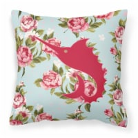 Fish - Sword Fish Shabby Chic Blue Roses   Canvas Fabric Decorative Pillow
