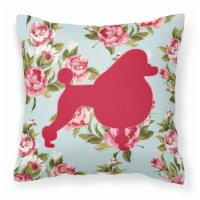 Poodle Shabby Chic Blue Roses   Canvas Fabric Decorative Pillow BB1072
