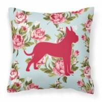 Boxer Shabby Chic Blue Roses   Canvas Fabric Decorative Pillow BB1109 - 14Hx14W
