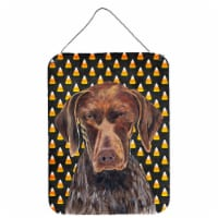 German Shorthaired Pointer Candy Corn Halloween  Wall or Door Hanging Prints - 16HX12W