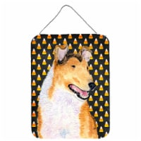 Collie Smooth Candy Corn Halloween Portrait Wall or Door Hanging Prints - 16HX12W