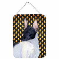 Rat Terrier Candy Corn Halloween Portrait Wall or Door Hanging Prints - 16HX12W