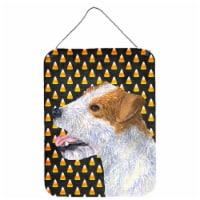 Jack Russell Terrier Candy Corn Halloween Portrait Wall or Door Hanging Prints - 16HX12W