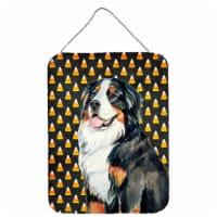 Bernese Mountain Dog Candy Corn Halloween Portrait Wall or Door Hanging Prints - 16HX12W