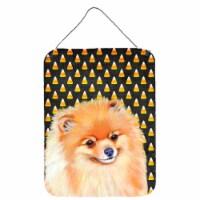 Pomeranian Candy Corn Halloween Portrait Wall or Door Hanging Prints - 16HX12W
