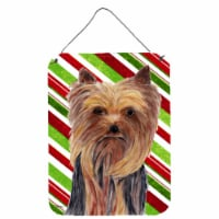 Yorkie Candy Cane Holiday Christmas Aluminium Metal Wall or Door Hanging Prints - 16HX12W