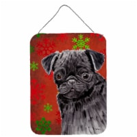 Pug Red and Green Snowflakes Holiday Christmas Wall or Door Hanging Prints