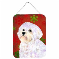 Maltese Red and Green Snowflakes Holiday Christmas Wall or Door Hanging Prints - 16HX12W