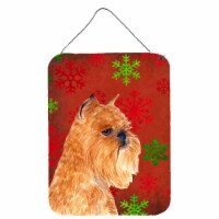 Brussels Griffon Red Snowflakes Holiday Christmas Wall or Door Hanging Prints