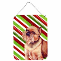 Brussels Griffon Candy Cane Holiday Christmas Wall or Door Hanging Prints