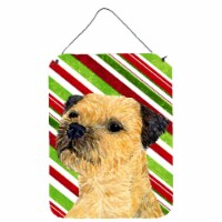 Border Terrier Candy Cane Holiday Christmas Wall or Door Hanging Prints