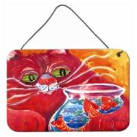 Big Red Cat at the fishbowl Indoor Aluminium Metal Wall or Door Hanging Prints