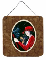 Lady driving with her Rottweiler Aluminium Metal Wall or Door Hanging Prints - 6HX6W