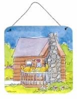 Cat Love at the Log Cabin  Aluminium Metal Wall or Door Hanging Prints - 6HX6W