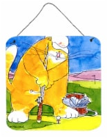 Big Cat golfing with a fishing pole  Wall or Door Hanging Prints