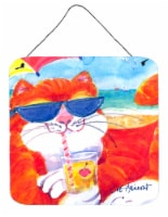 Cool Cat with Sunglasses at the beach Wall or Door Hanging Prints - 6HX6W