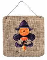Halloween Pumpkin Bat Fleur de lis Aluminium Metal Wall or Door Hanging Prints - 6HX6W