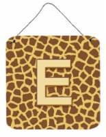 Letter E Initial Monogram - Giraffe Aluminium Metal Wall or Door Hanging Prints - 6HX6W