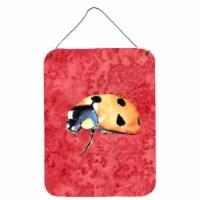 Carolines Treasures  8869DS1216 Lady Bug on Red Aluminium Metal Wall or Door Han - 16HX12W