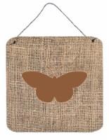 Butterfly Burlap and Brown Aluminium Metal Wall or Door Hanging Prints BB1044