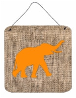 Elephant Burlap and Orange Aluminium Metal Wall or Door Hanging Prints BB1011