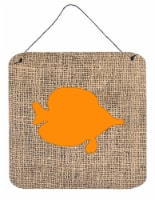 Fish - Tang Fish Burlap and Orange Wall or Door Hanging Prints BB1023 - 6HX6W