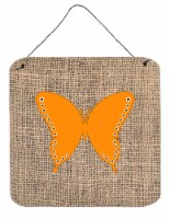 Butterfly Burlap and Orange Aluminium Metal Wall or Door Hanging Prints BB1036