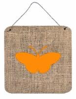 Butterfly Burlap and Orange Aluminium Metal Wall or Door Hanging Prints BB1043