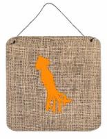 Squid Burlap and Orange Aluminium Metal Wall or Door Hanging Prints BB1096 - 6HX6W