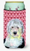 Old English Sheepdog Hearts Valentine's Day Portrait  Tall Boy Beverage Insulato - Tall Boy