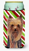 Yorkie Candy Cane Holiday Christmas  Tall Boy Beverage Insulator Beverage Insula - Tall Boy
