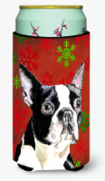 Boston Terrier Red Green Snowflakes Christmas  Tall Boy Beverage Insulator Bever - Tall Boy