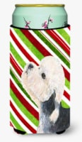 Dandie Dinmont Terrier Candy Cane Holiday Christmas  Tall Boy Beverage Insulator - Tall Boy