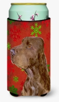 Field Spaniel Red and Green Snowflakes Holiday Christmas  Tall Boy Beverage Insu - Tall Boy