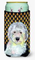 Old English Sheepdog Candy Corn Halloween Portrait  Tall Boy Beverage Insulator - Tall Boy